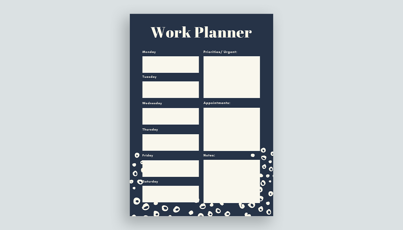 A simple planner template made with Canva.