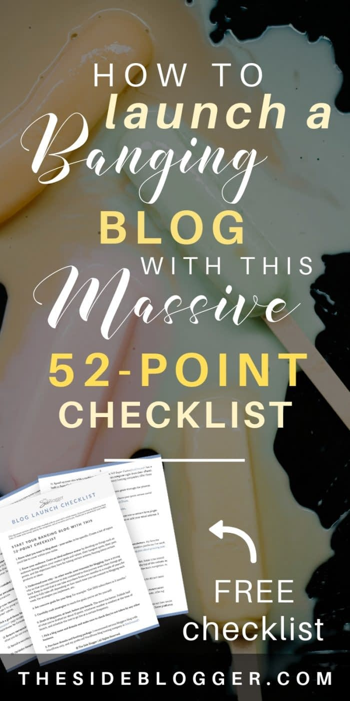 Are you about to launch your blog? HOLD IT RIGHT THERE! Before you hit Publish, make sure to go through this MASSIVE, 52-point blog launch checklist to make sure you've got all the essentials of your future blogging success covered. Free downloadable checklist inside! - The Side Blogger #blogger #blog #blogging #bloggingtips